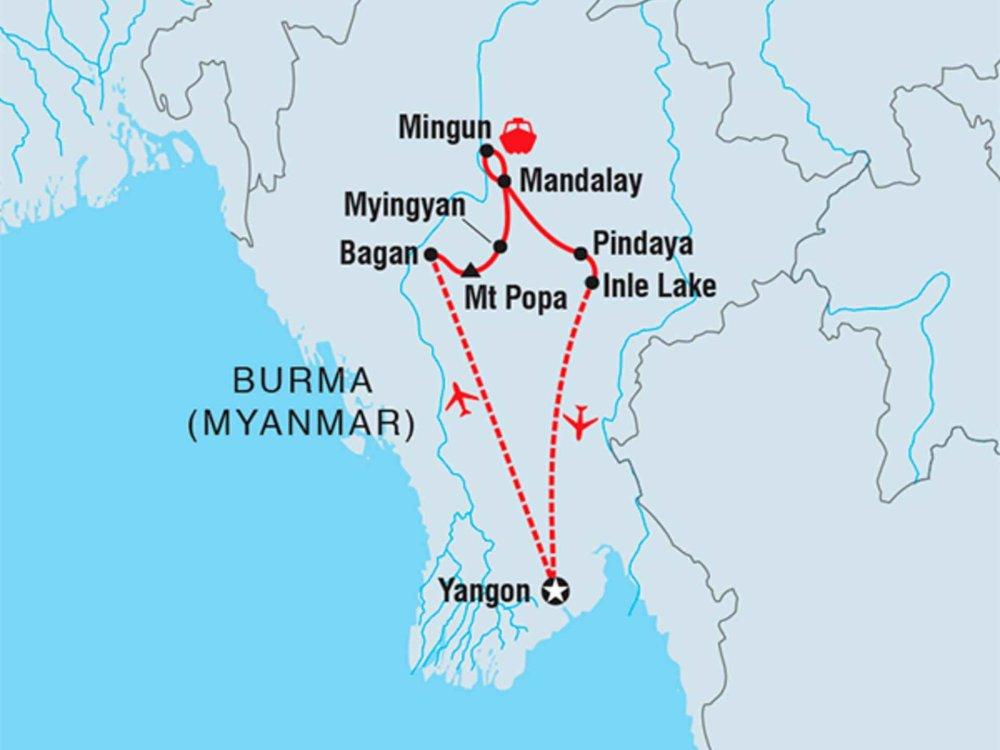 122Y40232 Mit dem Fahrrad durch Myanmar Karte