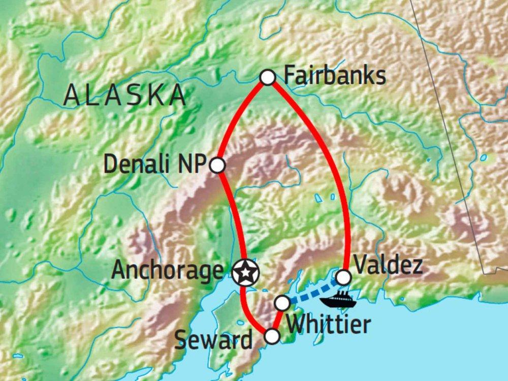 Wunderland Alaska mit dem Mietwagen entdecken Karte