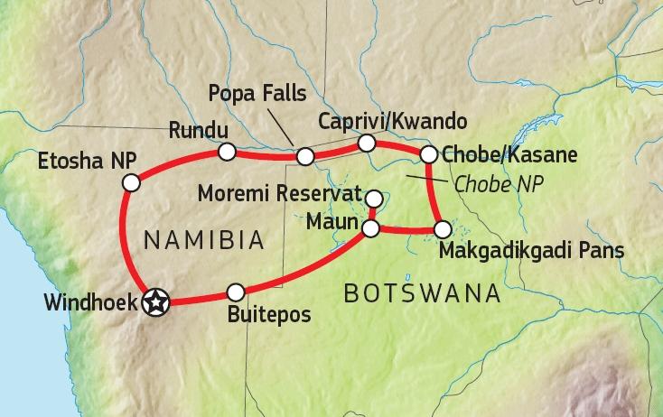 156Y10001 Faszination Namibia & Botswana Karte