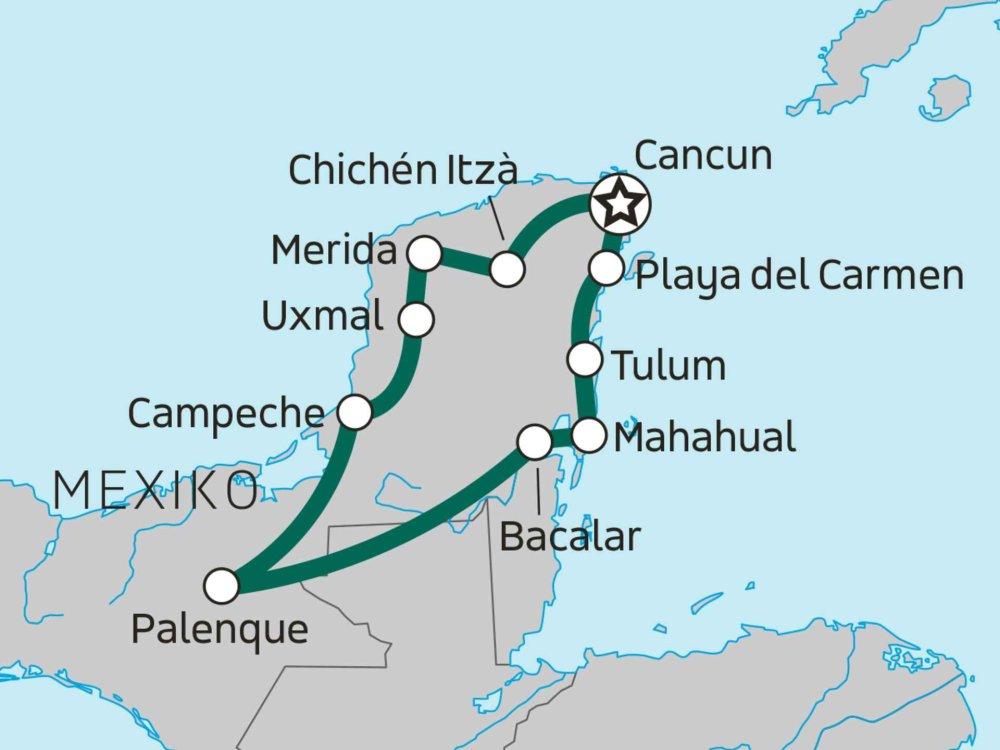 139Y20001 Rund um Yucatan Karte