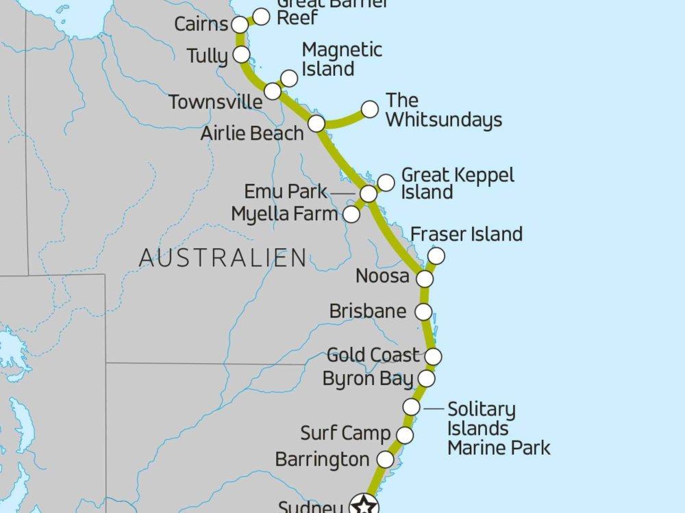 102A10150 Ostküste Australien intensiv erleben Karte