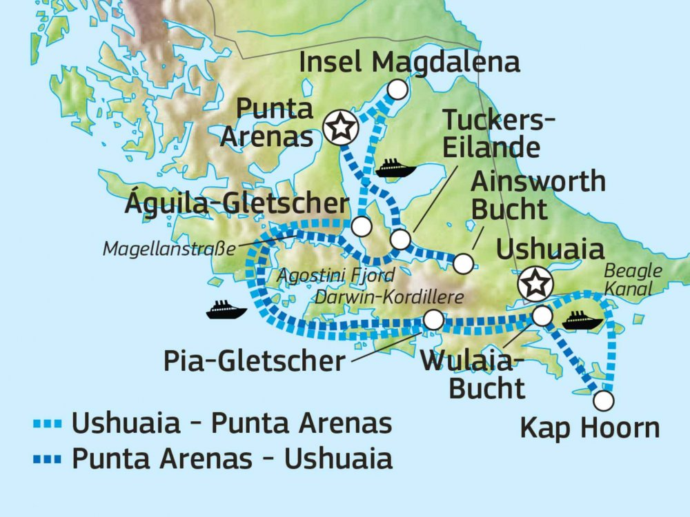 Patagoniens Fjorde & Ewiges Eis Karte
