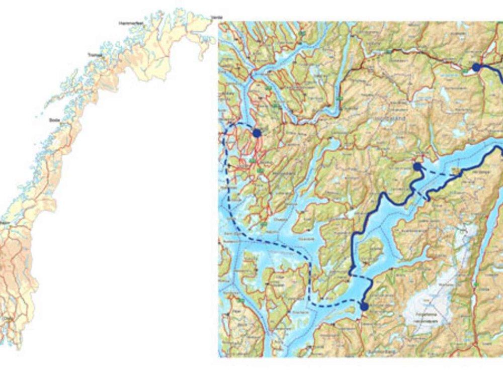 Hardangerfjord Radtour Karte