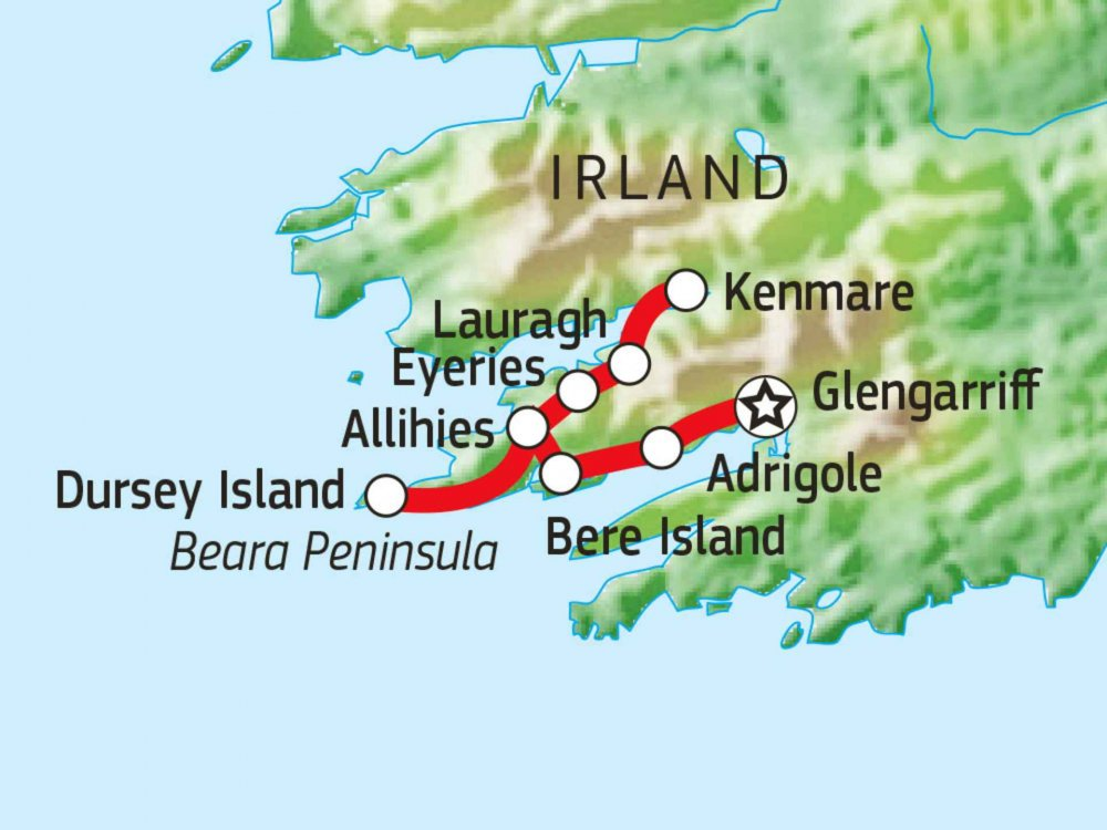 123W11051 Wandern auf dem Beara Way Karte