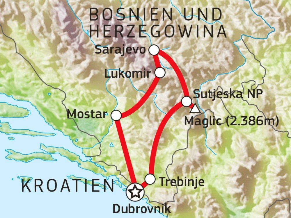 Wandern in Bosnien & Herzegowina Karte
