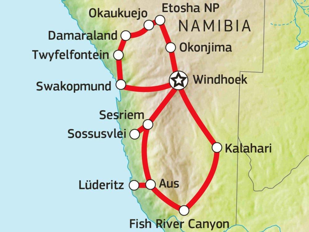 106Y21008 Naturerlebnis Namibia Karte