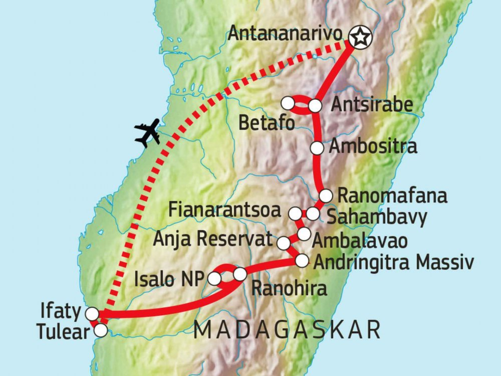 119Y54001 Madagaskar - Radtour vom Hochland an die Küste Karte