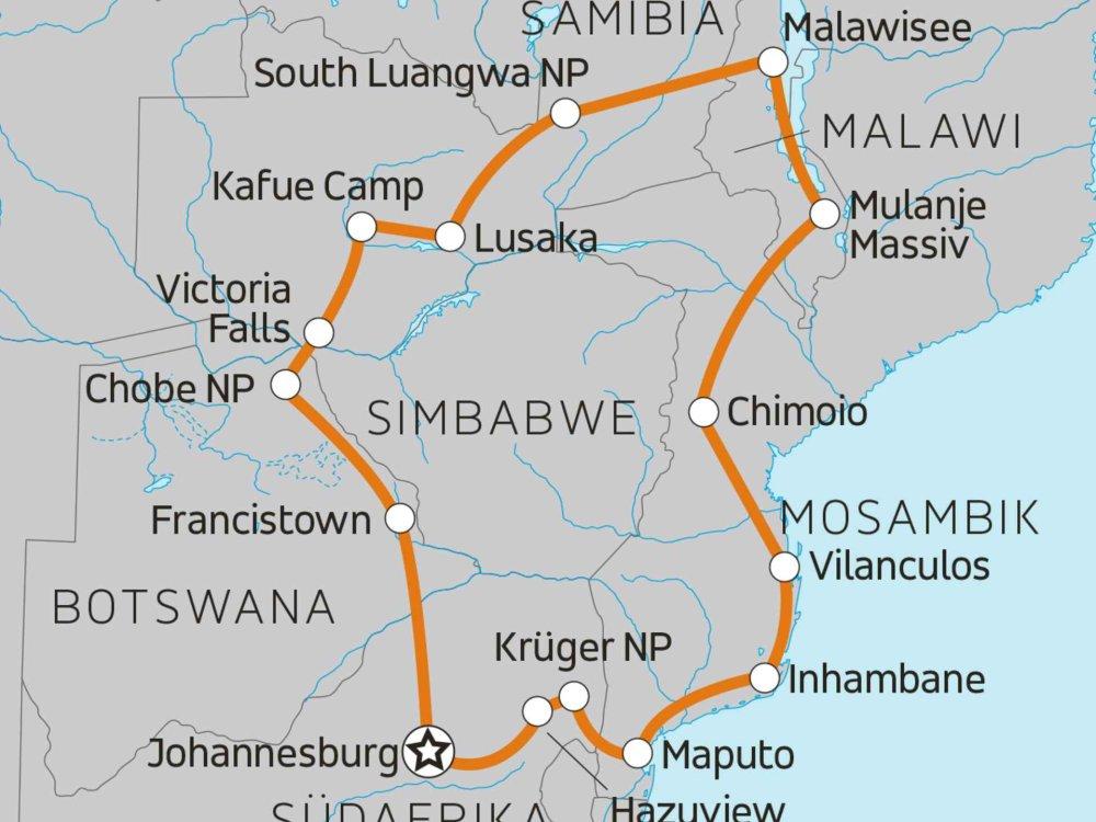 118U01011 6-Länder Safari Südliches Afrika Karte
