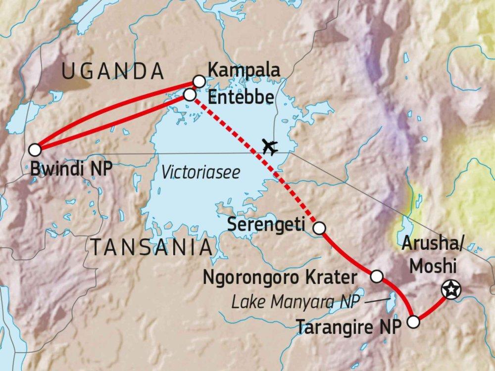142Y20101 Tansania & Uganda: Big Five & Berggorillas Karte