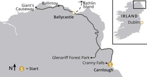 Wandern in Nordirland Karte