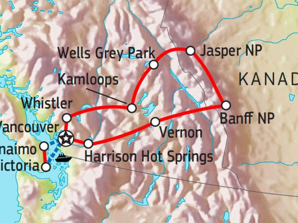 Naturparadies Westkanada Karte