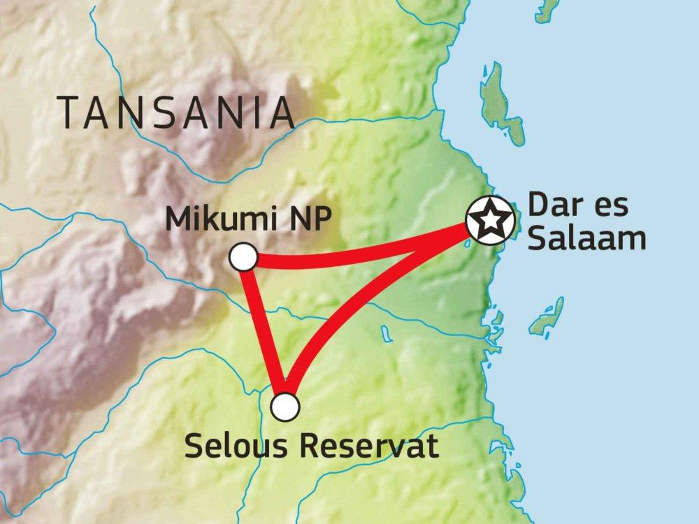 140Y40001 Südtansanias Tierparadiese Karte