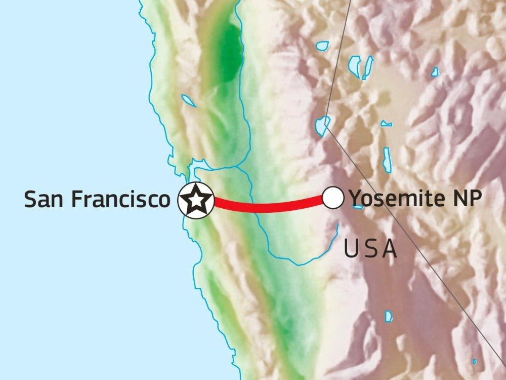 Wandertour Gipfel Yosemite Nationalpark Karte