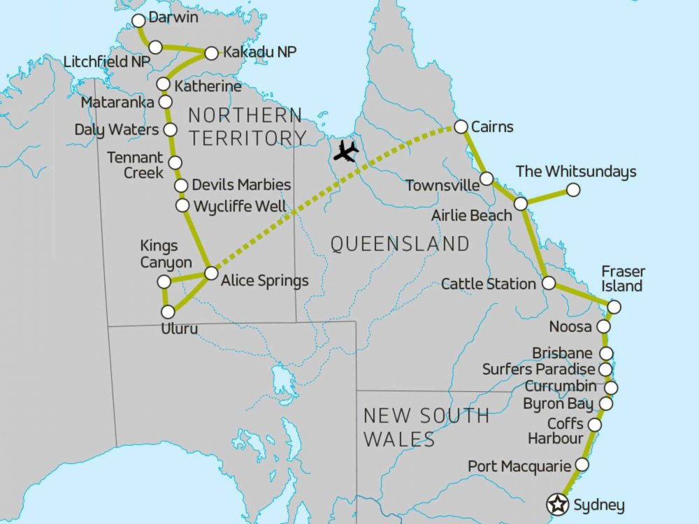 174Y10078 Entdeckungsreise Australien & Whitsundays Karte