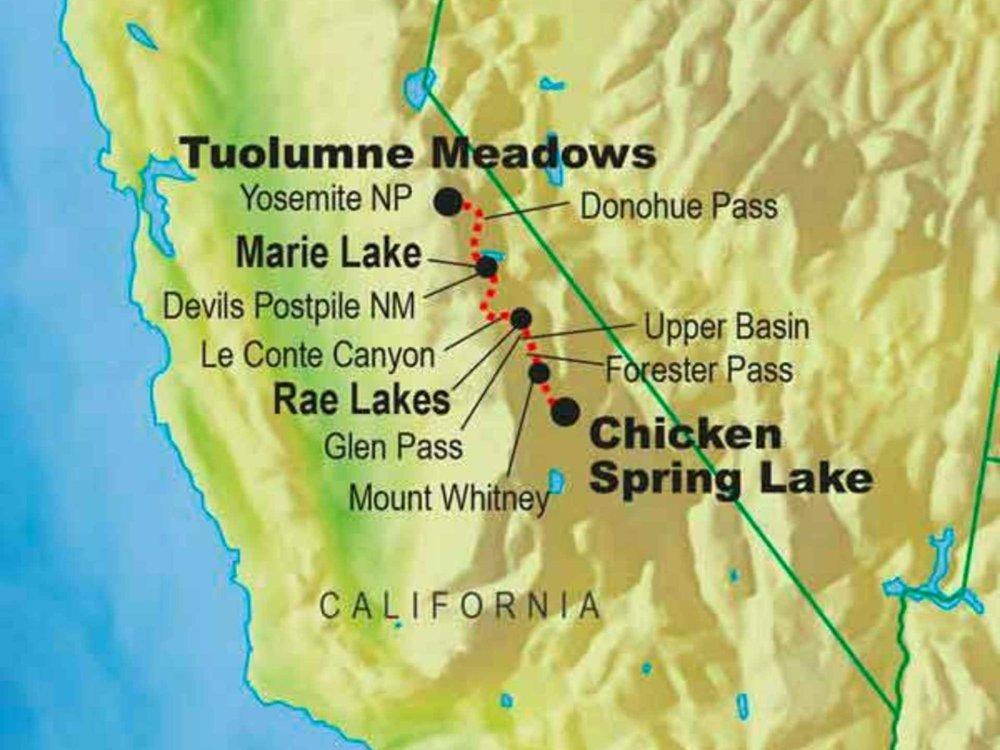 139G20013 John Muir Trail Karte