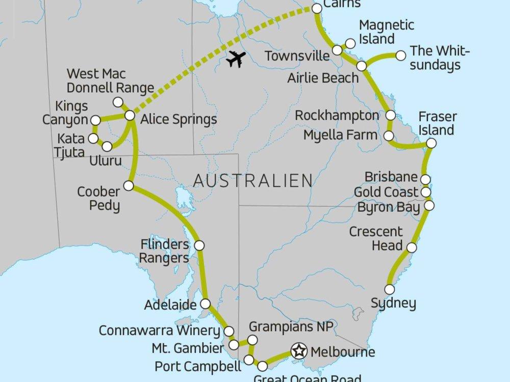 117Y10088 Australien Abenteuerreise Karte