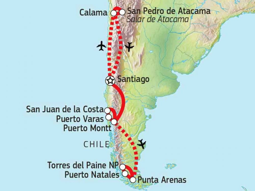 198Y50020 Chile Naturerlebnis Karte