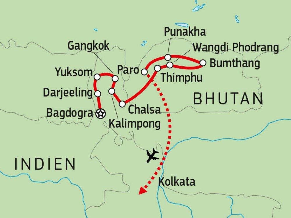 180Y10015 Sikkim & Bhutan Entdeckertour Karte