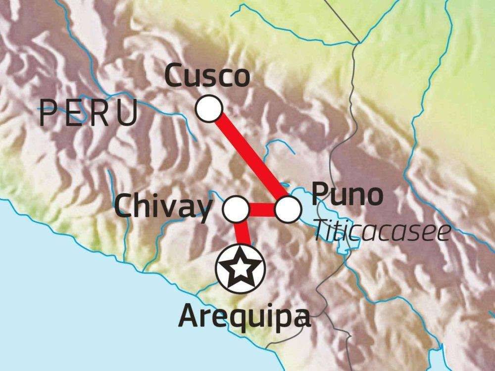 188P00028 Peru erfahren - Von Arequipa nach Cusco Karte