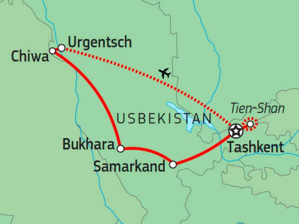 178Y20002 Bergwelten und Minarette Usbekistans Karte