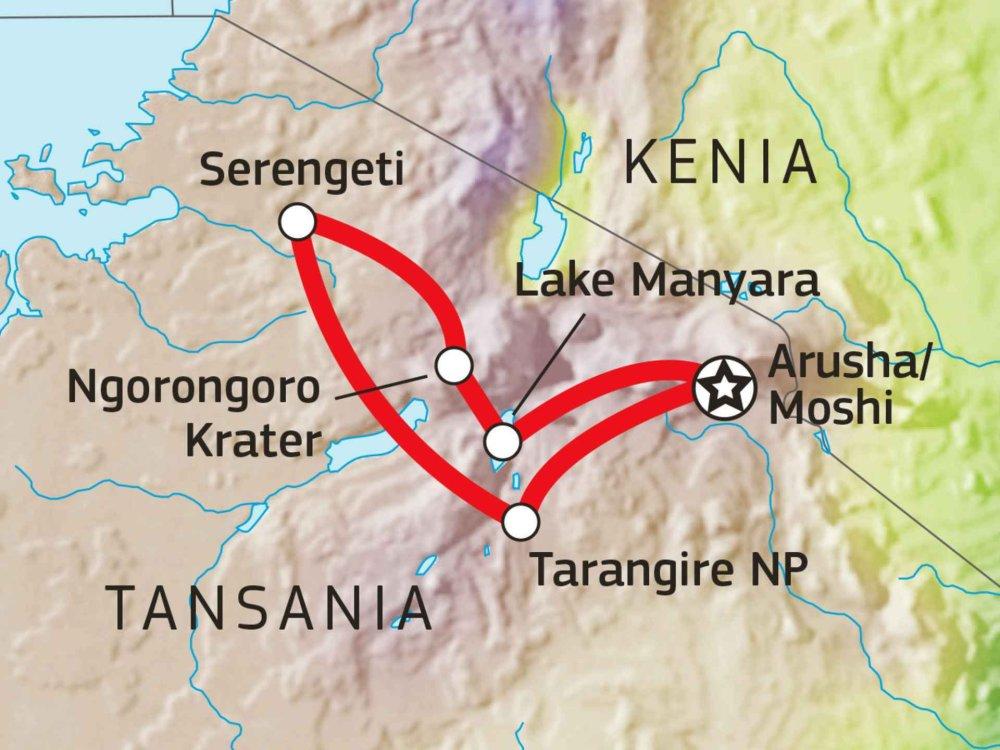 142Y10016 Tansania Abenteuer Safari mit Komfort VII Karte