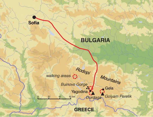Rhodopen Wandern in Bulgariens Süden Karte