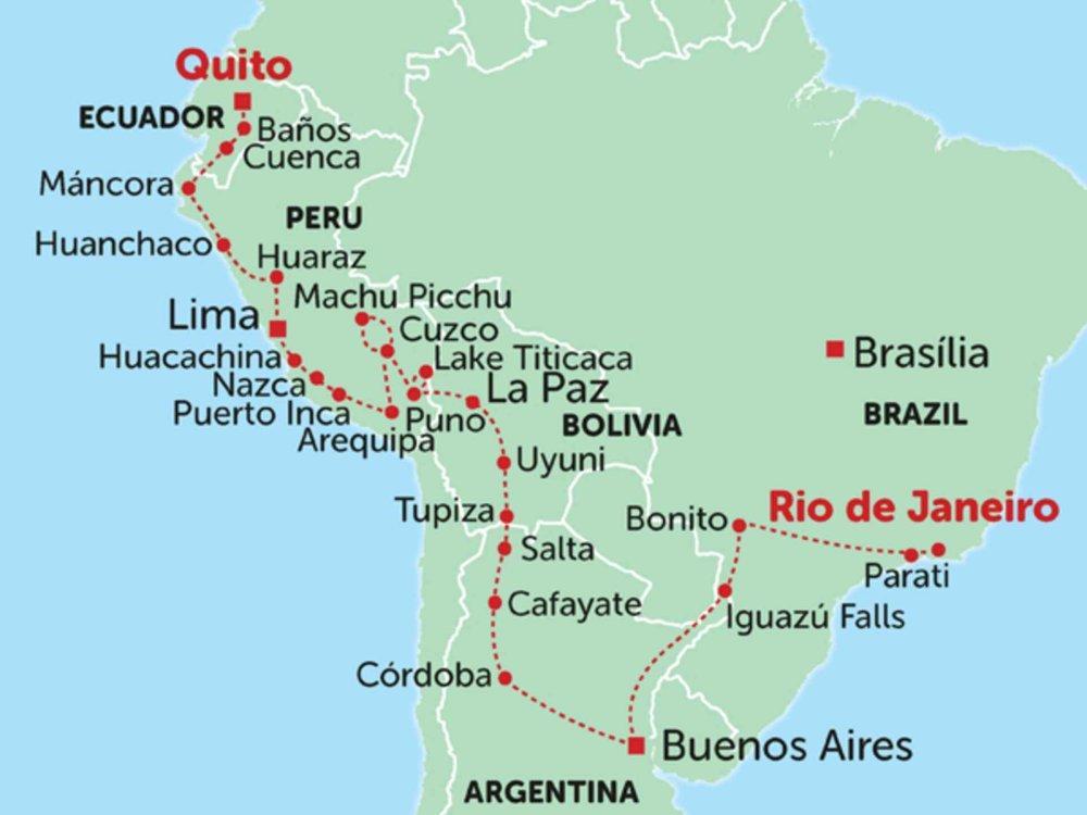 135Y10242 Overland von Quito nach Rio Karte