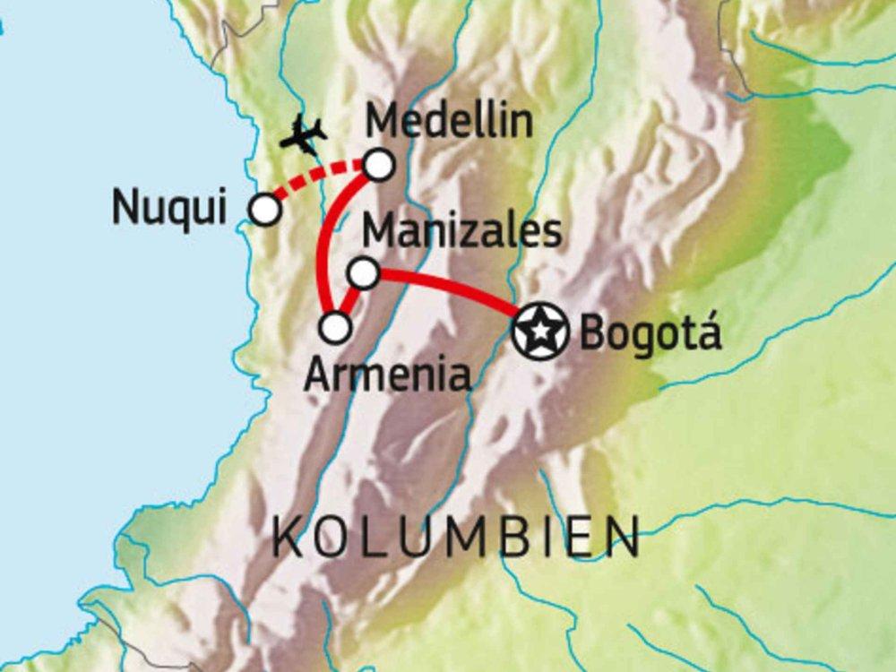 198Y30024 Kolumbiens Kaffeezone & Pazifikstrände Karte