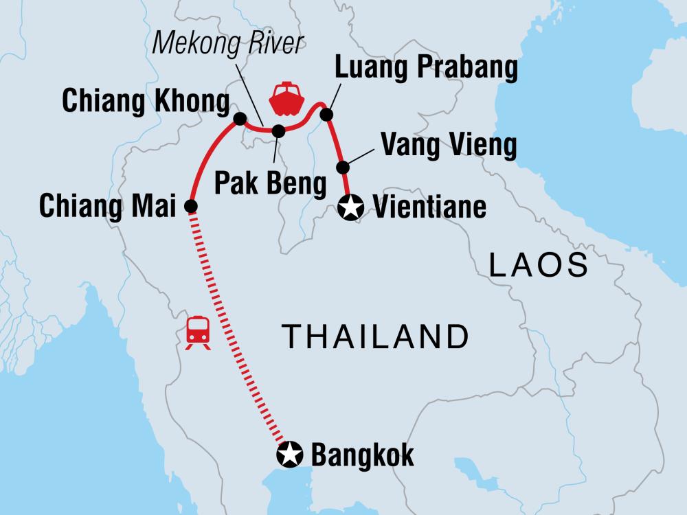 Thailand Laos Abenteuer Karte