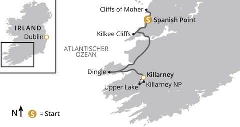 Wanderwoche Kerry Burren Karte