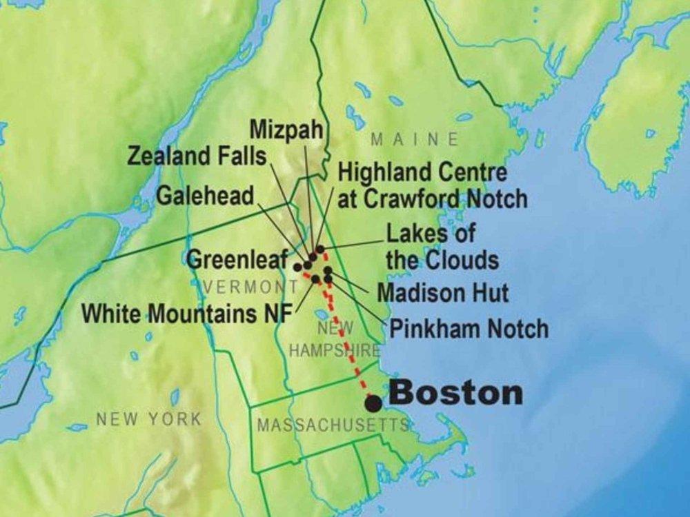 139G10052 Appalachian Trail - Hüttenwanderung Karte