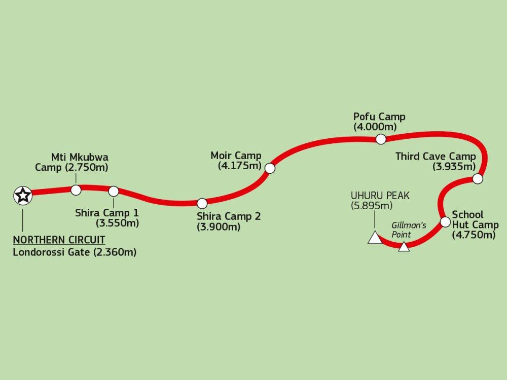 Kilimandscharo Northern Circuit Karte