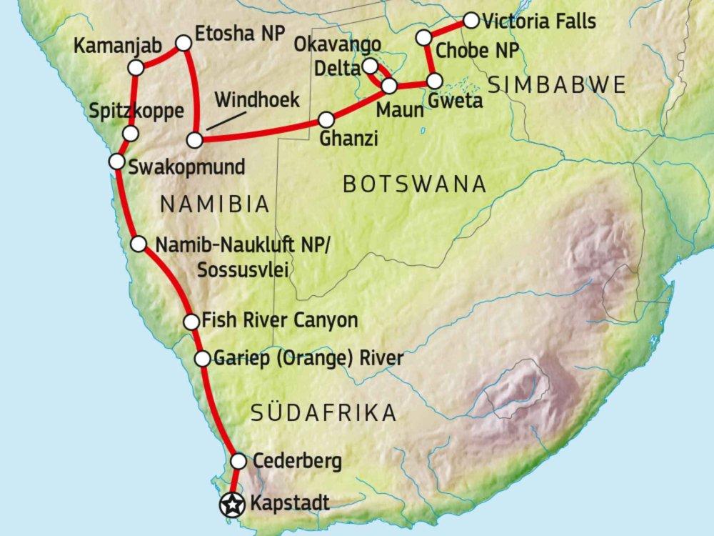 138G20005 Atemberaubende Naturerlebnisse von Kapstadt nach Victoria Falls Karte
