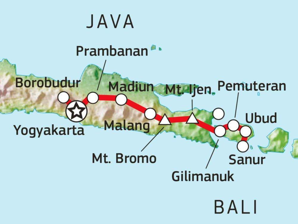 124Y21070 Erlebnisreise von Java nach Bali Karte