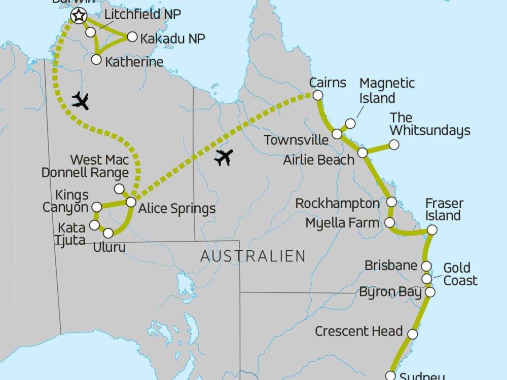 117Y10063 Von Darwin nach Sydney Karte