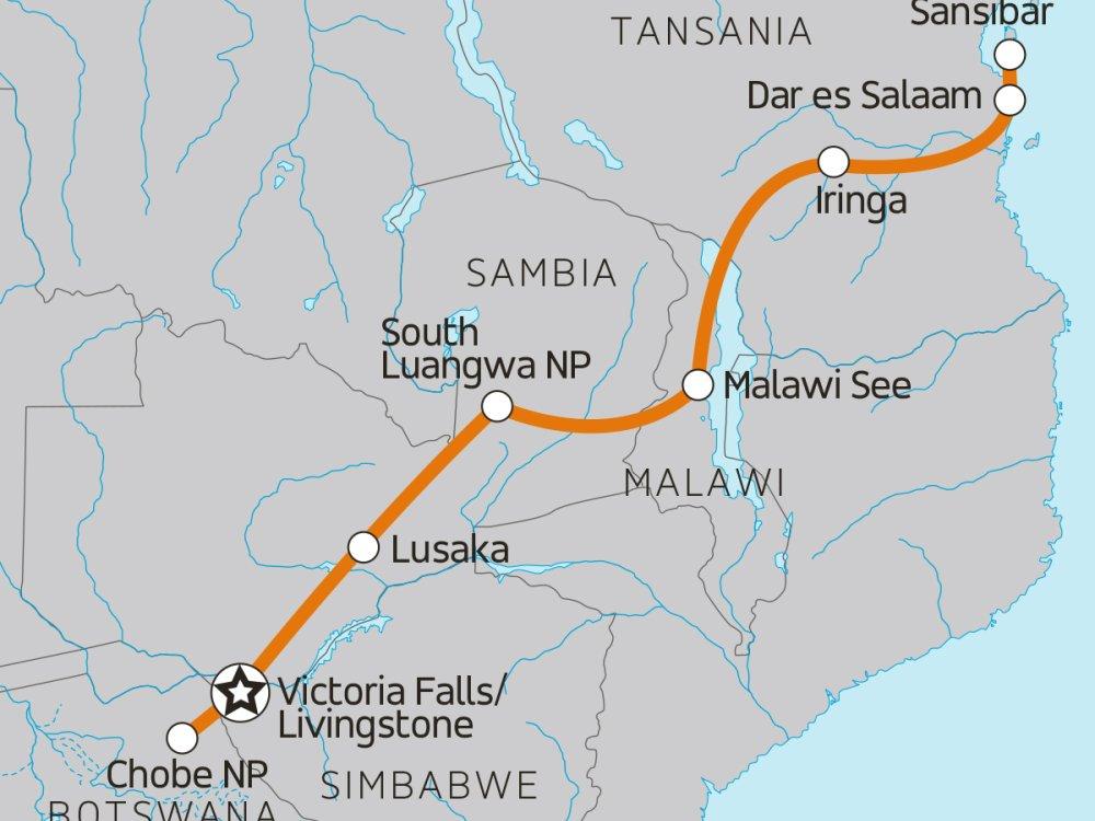 Von den Victoriafällen nach Sansibar Karte