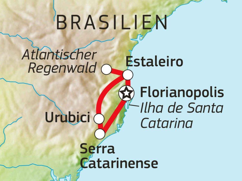 190Y21012 Brasiliens Südosten - Von Canyons & Postkartenstränden Karte