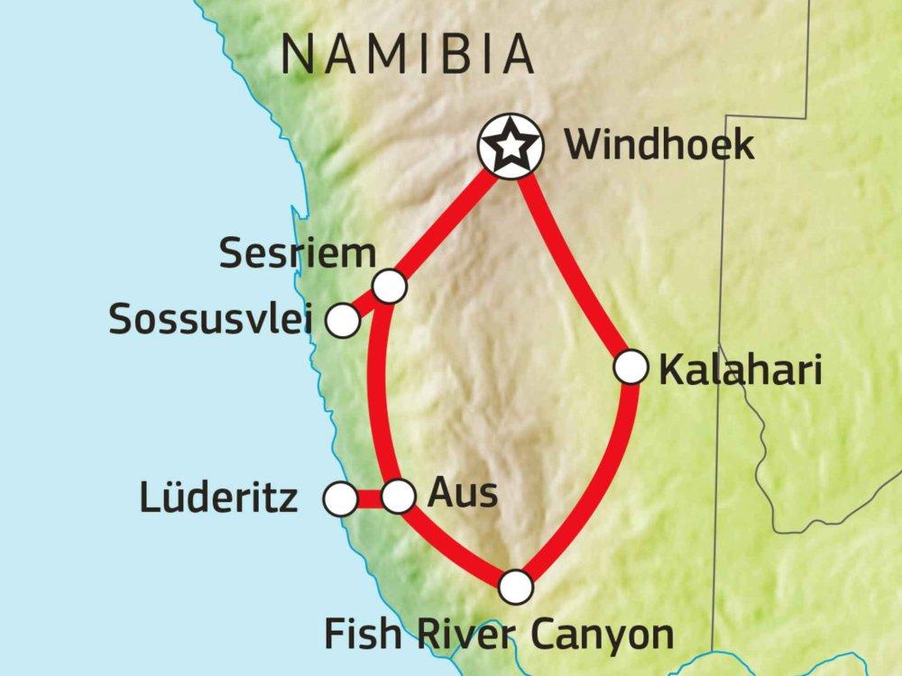 106Y21005 Abenteuer Süd-Namibia Karte