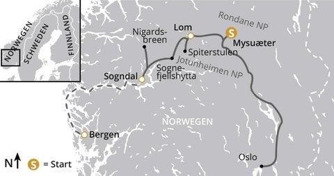 Natur-Wanderreise von Oslo nach Bergen