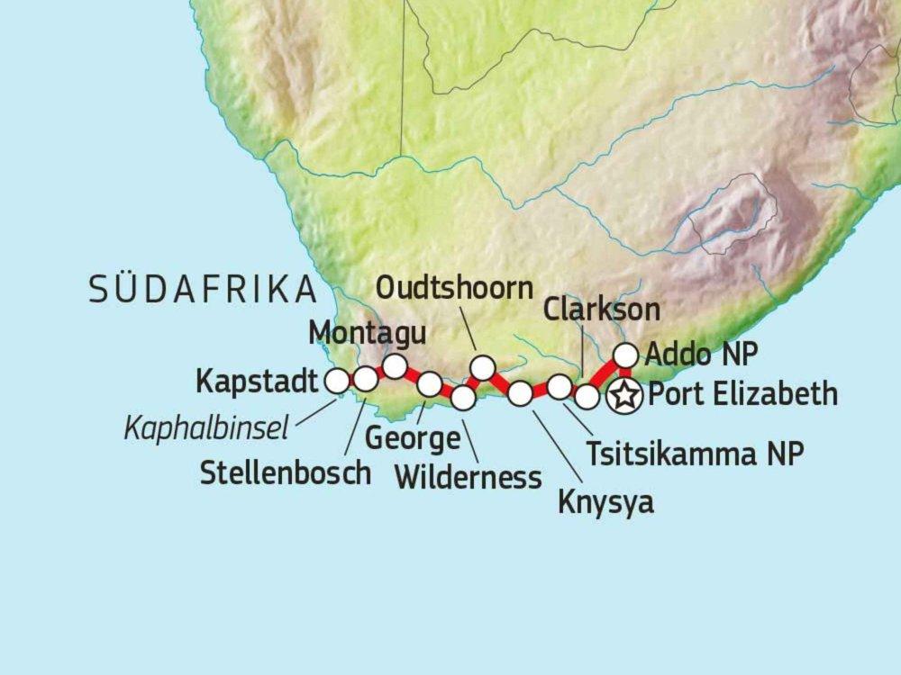 158B30100 Radreise entlang der Gardenroute Karte