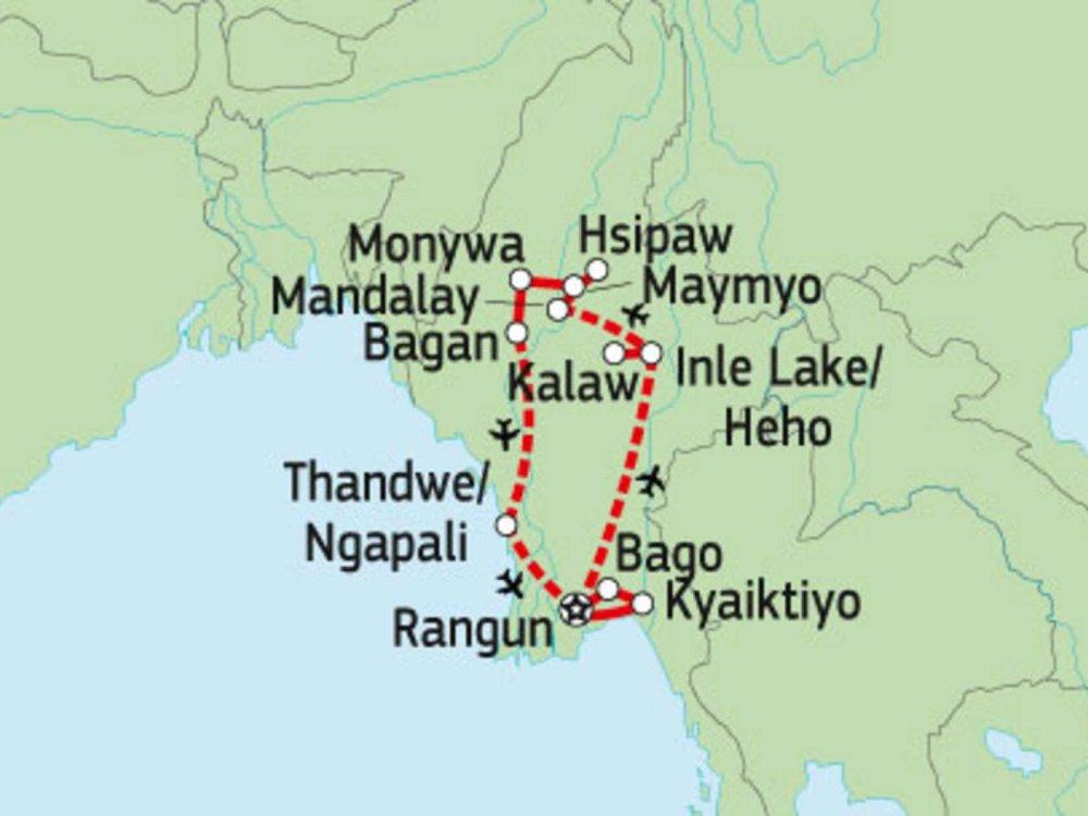 151Y10200 Myanmar Entdeckertour Karte