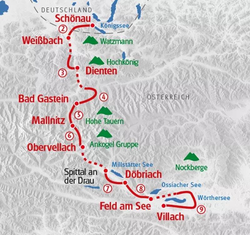 Karte Wanderung Königsee Wörthersee