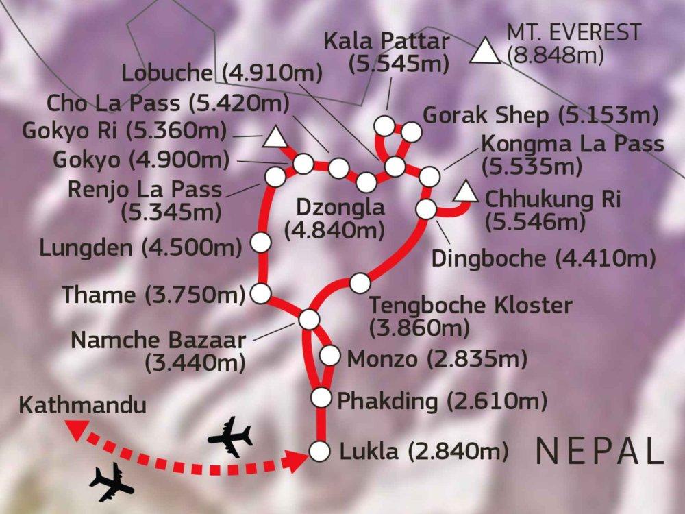 161Y30080 Solu Khumbu - Hohe Pässe des Everest Karte