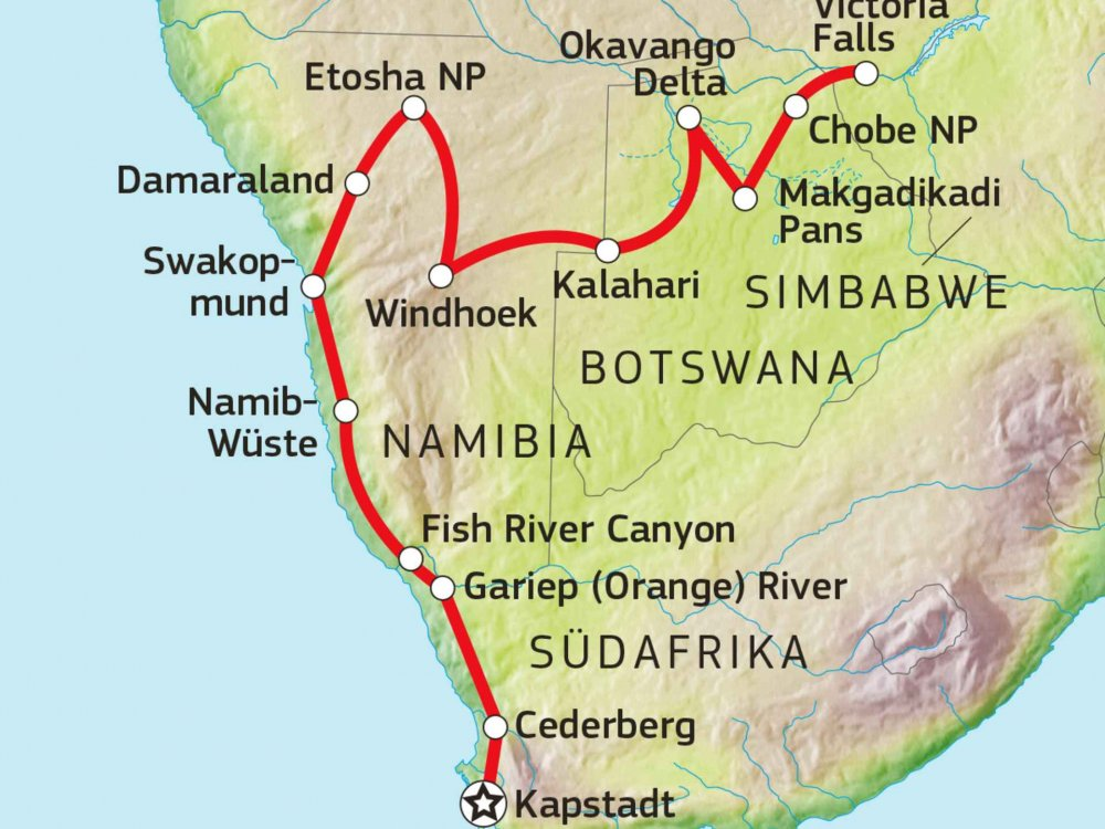 126Y10019 Große Abenteuerreise durch das Südliche Afrika Karte