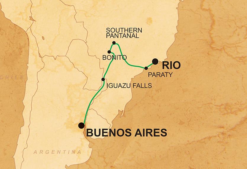 Buenos Aires & Rio Overland Karte