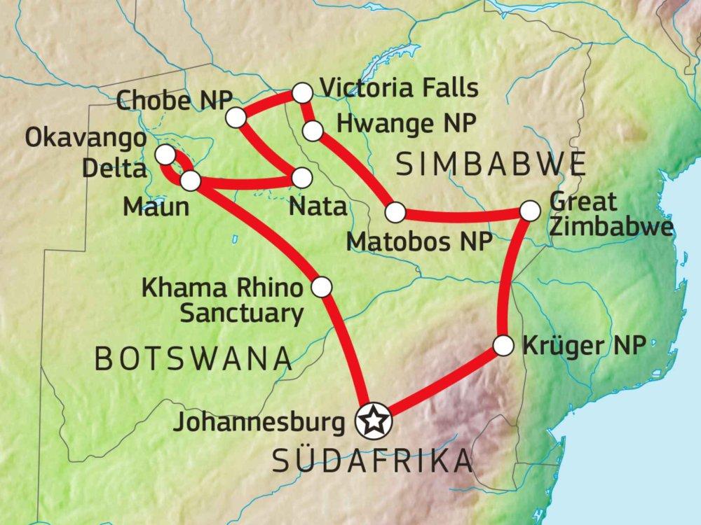 126Y10025 Simbabwe & Botswana Game Tracker Karte