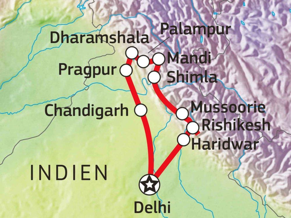 180T20065 Hill Stations & Pilgermagneten Karte