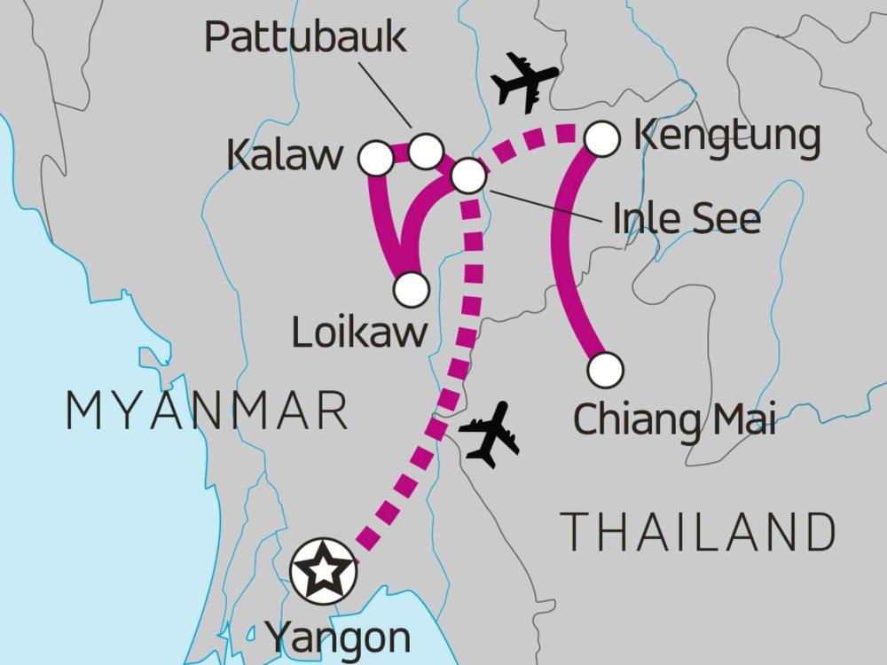 122Y60440 Myanmar & Thailand - Hike, Bike & Kayak Karte