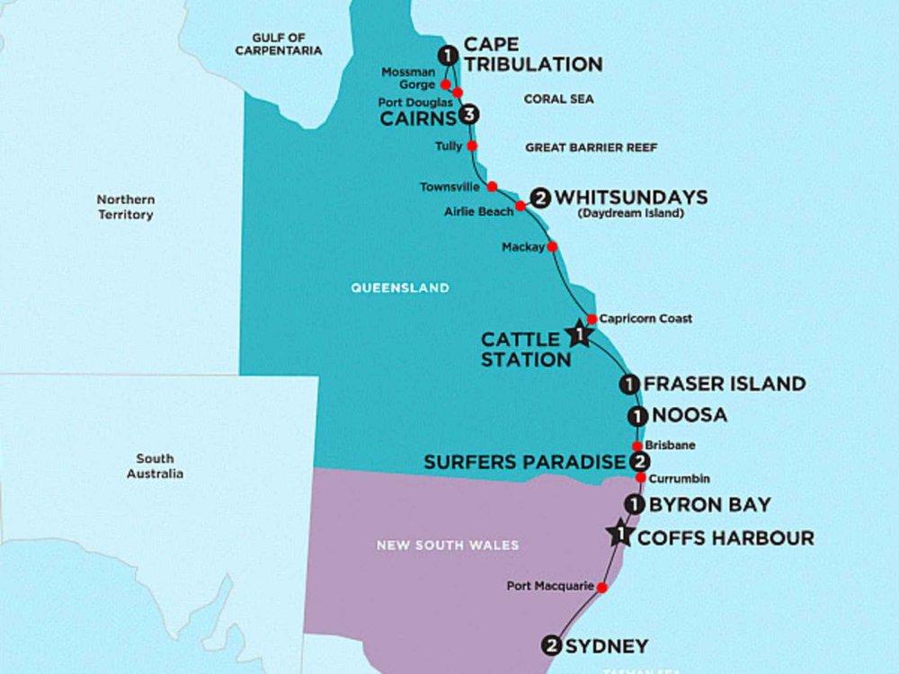 174Y10012R Australien Erlebnisreise entlang der Ostküste Karte