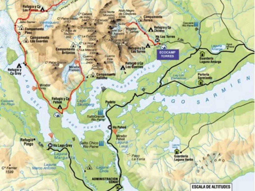 186Y41002 Torres del Paine Umrundung Karte